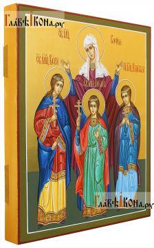 София, Вера, Надежда, Любовь, писаная икона с золочением фона -вид сбоку