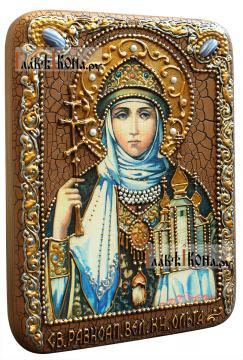 Ольга Равноапостольная, подарочная икона на доске из дуба, размер 15х20 см - вид сбоку