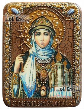 Ольга Равноапостольная, подарочная икона на доске из дуба, размер 15х20 см