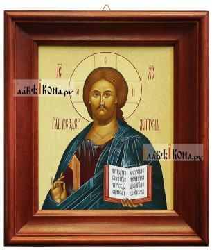 Икона Господа в деревянном киоте, 26х30 см
