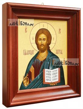 Икона Господа в деревянном киоте, 26х30 см - вид сбоку
