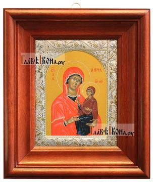 Икона Анны Праведной с посеребренным окладом, 14х18 см - вид в киоте