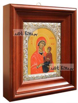 Икона Анны Праведной с посеребренным окладом, 14х18 см - вид в киоте сбоку