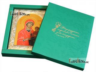 Икона Анны Праведной с посеребренным окладом, 14х18 см - вид с упаковкой