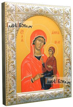 Икона Анны Праведной с посеребренным окладом, 14х18 см - вид сбоку