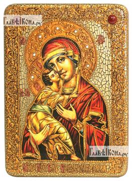 Икона Владимирская, подарочная, на мореном дубе, 21х29 см