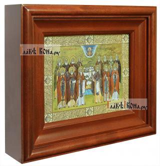 Оптинские старцы, икона печатная в киоте - вид сбоку