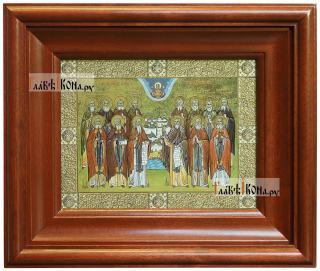 Оптинские старцы, икона печатная в киоте