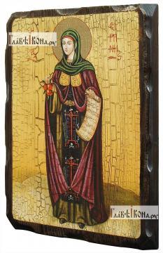 Ирина Каппадокийская, состаренная икона 18х24 см - вид сбоку