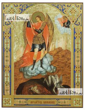 Архангел Михаил (старинный стиль), печатная на доске икона