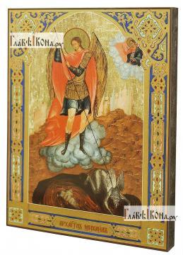 Архангел Михаил (старинный стиль), печатная на доске икона - вид сбоку