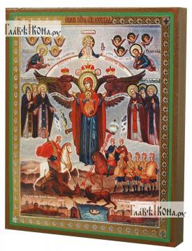 Азовская Божия Матерь, икона-литография - вид сбоку
