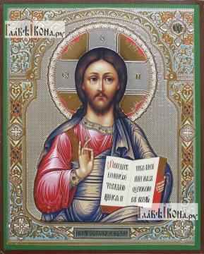 Господь Вседержитель фряжеский стиль, с узором, икона литография
