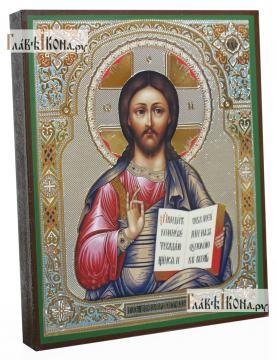 Господь Вседержитель фряжеский стиль, с узором, икона литография - вид сбоку