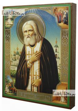 Серафим Саровский с четками, с житием, икона литография - вид сбоку