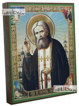 Серафим Саровский с клеймами по углам, икона литография - вид сбоку