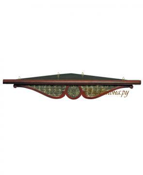 Полочка для икон одноярусная угловая с басмой, удлиненная, 65 сантиметров