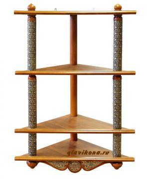Иконостас домашний четырехъярусный угловой деревянный, с басмой