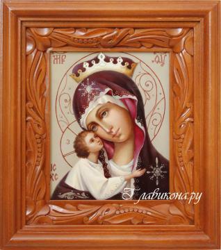 Игоревская Богородица икона в киоте с резьбой, артикул 262