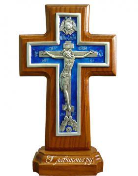 Крест-подставка посеребренный с эмалью