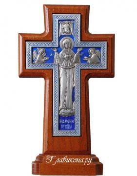 Крест с Богородицей с эмалью