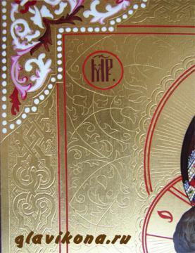 Владимирская Божия Матерь, икона писаная с чеканкой и золочением, артикул 209 - детали резьбы