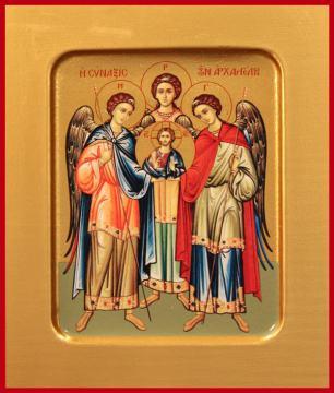 Михаил, Гавриил и Рафаил архангелы, печатная на дереве икона