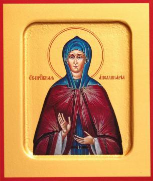 Аполлинария Египетская преподобная, икона печатная на дереве