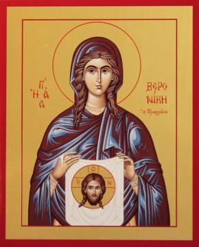 Вероника праведная, икона печатная на дереве