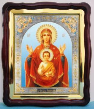Знамение Божия Матерь, большая аналойная икона, 43 х 50 см