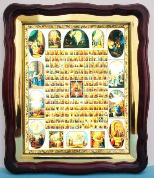Неопалимая Купина (с клеймами), аналойная икона (43 х 50 см)