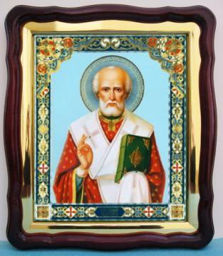 Николай Чудотворец (живописный лик, голубой фон), аналойная икона (43 х 50 см)