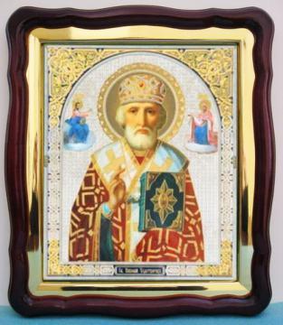 Николай Чудотворец (с предстоящими) аналойная икона (43 х 50 см)