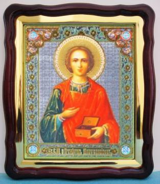 Пантелеймон (поясной), аналойная икона (43 х 50 см)