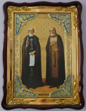 Сергий Радонежский и Серафим Саровский, икона храмовая
