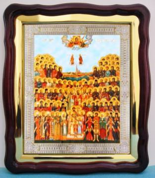 Собор Петербургских святых, большая аналойная икона, 43 х 50 см