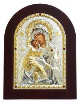 Владимирская Божия Матерь, икона в посеребренном окладе
