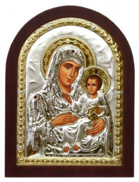 Иерусалимская Божия Матерь, икона в посеребренном окладе