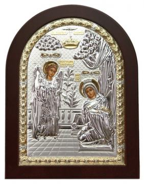 Благовещение, греческая икона, в серебряном окладе