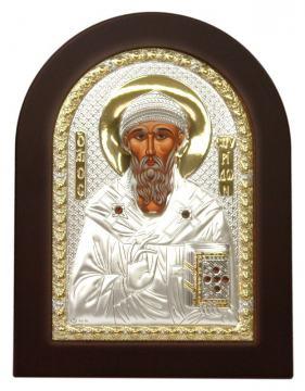 Спиридон Тримифунтский, икона в посеребренном окладе