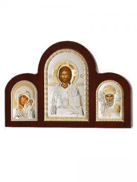 Триптих: Казанская, Спаситель, Николай - тройник с посеребренными иконами
