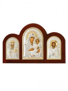 Иерусалимская Б.М., Спаситель, свт. Николай - триптих из посеребренных икон