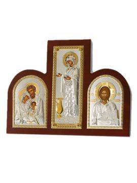 Спаситель, Геронтисса Б.М., Св. Семейство - триптих из посеребренных икон