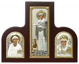 Геронтисса Б.М., св. Спиридон, свт. Николай - триптих из посеребренных икон