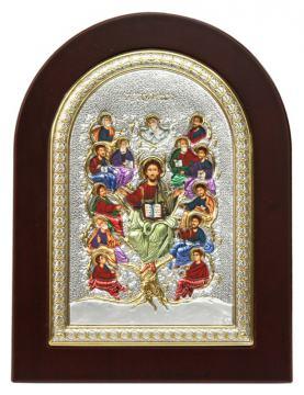 Спас Древо жизни, икона в посеребренном окладе (с эмалью)