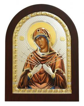 Семистрельная Божия Матерь, икона в посеребренном окладе (с эмалью)
