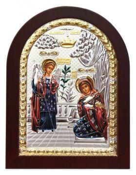 Благовещение, икона в посеребренном окладе (с эмалью)