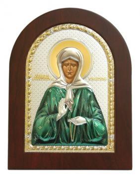 Матрона Матрона, икона в посеребренном окладе (с эмалью)