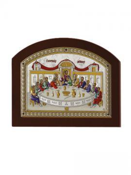 Тайная Вечеря, православная икона в серебряной ризе (Греция)