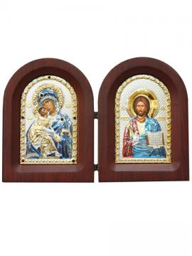 Владимирская и Спаситель - складень с посеребренными иконами, с цветной эмалью
